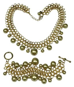 Kenneth Jay Lane 13th Anniversary Faux Pearl Dangle Brushed Gold Tone Chainmaille Demi Parure Necklace & Bracelet Set