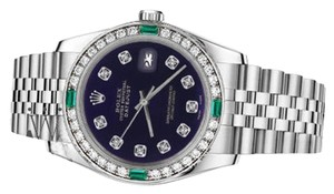 Rolex Ladies Rolex 26mm Datejust Purple Color Dial with Diamond Emerald Accent Watch