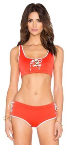 Clover Canyon Red Solid Lace Up Sporty White Trim Two Piece Swimsuit