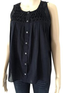 J.Crew Sleeveless Smock Summer Top Navy Blue