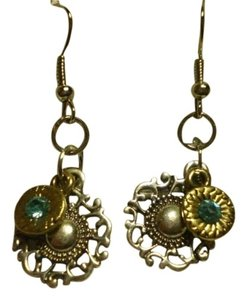 Handmade New Silver & goldtone charms w/aquamarine earrings
