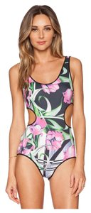 Clover Canyon Dancing Tulips Pink Black Graphic Cutout Swimsuit One Piece S