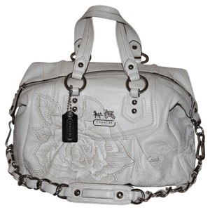 Coach Embroidered Limited Ed White Satchel in Eggshell