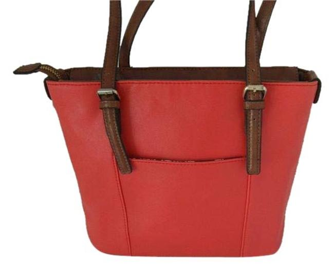 Item - New With Orange Crock Embossed Leather Tote