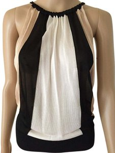 bebe Summer Sheer Knit Striped Sleeveless Top Black, Tan & White