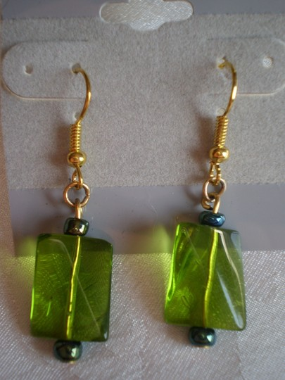 Handmade New Green dangly earrings