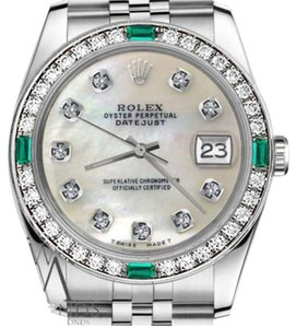 Rolex Women's Rolex 31mm Datejust White MOP Mother Of Pearl Diamond Dial Emerald Watch