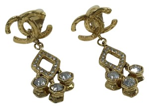 Chanel Vintage Chanel Gold Plated Argyle Rhinestone Drop Earrings