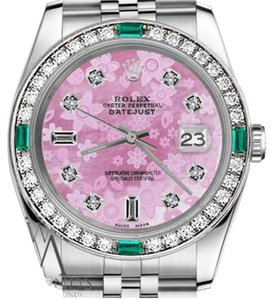 Rolex Rolex 36mm Datejust Pink Flower Mother of Pearl Dial Emerald Diamond
