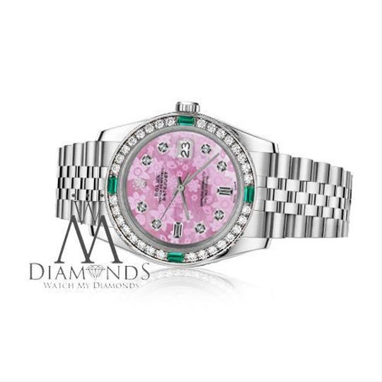 Rolex Rolex 36mm Datejust Pink Flower Mother of Pearl Dial Emerald Diamond Image 1
