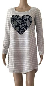 Victoria's Secret Night Shirt Sleep Wear Stripe Velvet Heart T Shirt Gray, Grey, White, Black