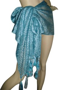 fashionista Fashionista Style turquoise sarong wrap, blue w silver lurex pareo,bikini cover w 6 in. tassels, turquoise shawl w fancy tassels