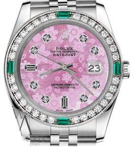 Rolex Ladies Rolex 26mm Datejust Pink Mother of Pearl Dial Emerald Diamond