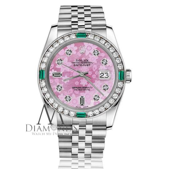 Rolex Ladies Rolex 26mm Datejust Pink Mother of Pearl Dial Emerald Diamond Image 2