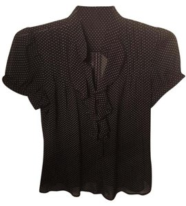 The Limited Polka Dot Ruffle Front Top black