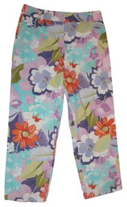 Talbots Stretchy Floral Patterned Straight Pants Floral Multicolor
