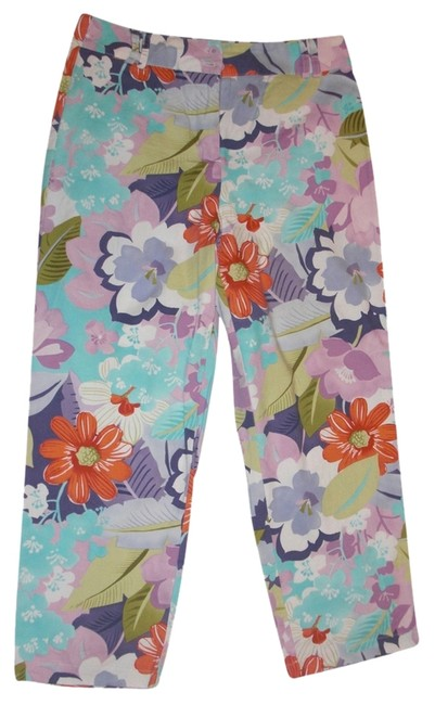 Talbots Stretchy Patterned Straight Pants Floral Multicolor