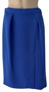 J.Crew Knee Length Slit Pleated Skirt Blue
