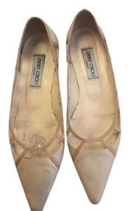 Jimmy Choo Vintage Canvas Beige Flats