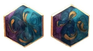 Trillion Vintage 80s Hexagon Earrings Enamel Peacock Swirled Blue/Purple/Gold