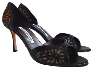 Manolo Blahnik Black/Silver Sandals