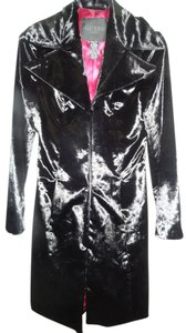 Guess Snap Front Buttons Lapels Faux Fitted Fur Coat