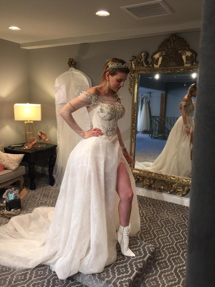 Galia Lahav Ivory Silver and Blush French Lace Silk Tulle Aria #54 ...