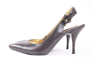 Coach Dark Leather Angela Sling Back B brown Pumps