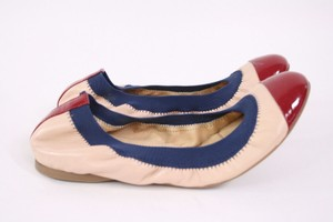 J.Crew Mila Cap Toe Nude Burgundy Navy Blue Leather Ballet Multi-Color Flats