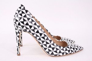 J.Crew Falsetto Printed Pointed Toe Leather Heels Black & White Pumps