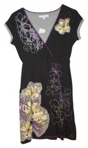 Tori Richard short dress Black Short Sleeved Purple Lilies Flowers Floral Grey Yellow Cotton Summer Spring on Tradesy
