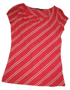 The Limited Top Coral with khaki stripes