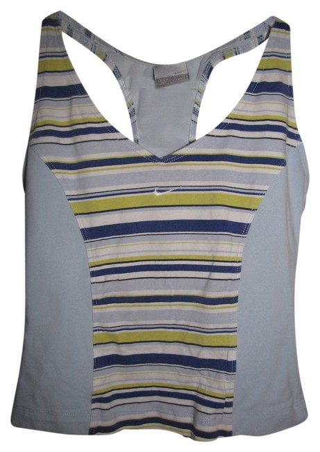 Nike Light Blue with Yellow Blue and White Stripes Activewear Top Size 4 (S, 27) Nike Light Blue with Yellow Blue and White Stripes Activewear Top Size 4 (S, 27) Image 1