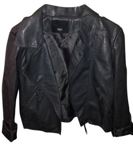 Mossimo Leather Dark Gray Leather Jacket
