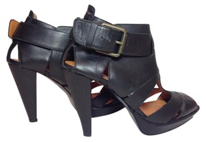 Steve Madden Leather Platform Peep Toe Black Platforms
