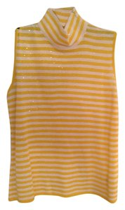 St. John Top Yellow and white sequin stripe