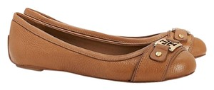 Tory Burch Ballet Tumbled Leather Leather Royal Tan Flats