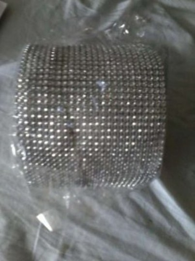 Silver Rhinestone Bling 4 1/2 Inch Wide X 10 Yards (30 Feet) Roll Reception Decoration