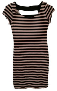Monteau (Los Angeles) short dress Black and Tan Striped Mini on Tradesy