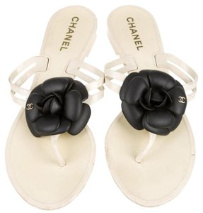 Chanel Jelly Glitter Interlocking Cc Silver Hardware Camellia Sandals