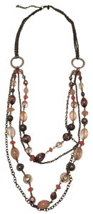 New York & Company Pink, Peach, & Pewter Layered Necklace