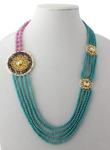 Turuoise hue and Mauve Pink Kundan Necklace