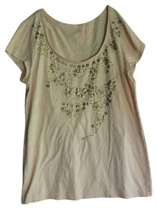 Ann Taylor LOFT T Shirt Pale pink with gold