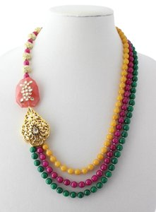 Other Multi Color Beads, Coral Stone and Kundan Necklace