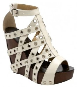 N.Y.L.A. Platform Grommets Wood White Wedges