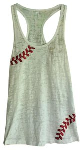 Next Level Apparel Top White with Red and sequin baseball