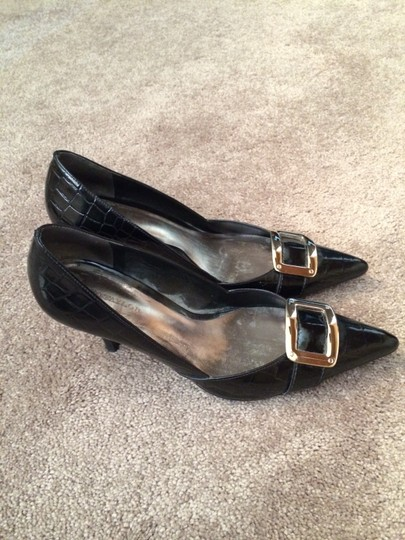 Ann Taylor Alligator Black with Silver Pumps