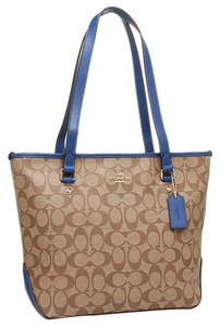 Coach Zip Blue Tote in Blue/Khakhi