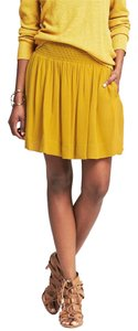 Banana Republic Smocked Full Gold Orchid Skirt Yellow