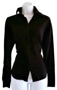 Ann Taylor LOFT Long Sleeve Stretch Hidden Buttons Business Casual Button Down Shirt Black